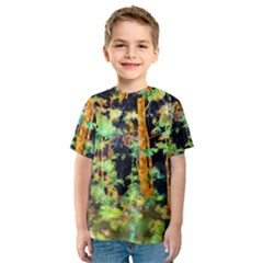 Abstract Trees Flowers Landscape Kids  Sport Mesh Tee