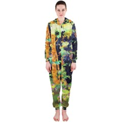 Abstract Trees Flowers Landscape Hooded Jumpsuit (ladies)