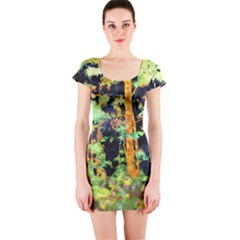 Abstract Trees Flowers Landscape Short Sleeve Bodycon Dress