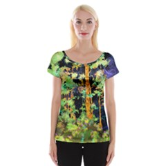 Abstract Trees Flowers Landscape Women s Cap Sleeve Top
