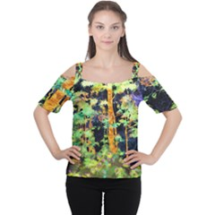 Abstract Trees Flowers Landscape Women s Cutout Shoulder Tee