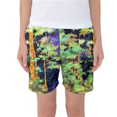 Abstract Trees Flowers Landscape Women s Basketball Shorts