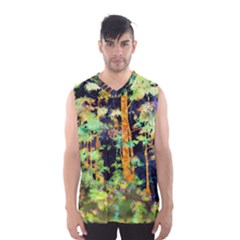 Abstract Trees Flowers Landscape Men s Basketball Tank Top