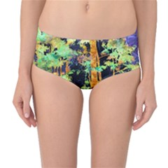 Abstract Trees Flowers Landscape Mid Waist Bikini Bottoms
