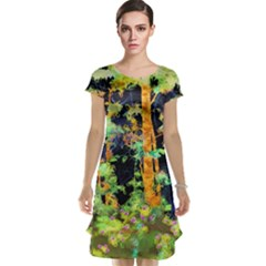 Abstract Trees Flowers Landscape Cap Sleeve Nightdress