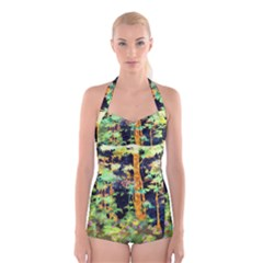 Abstract Trees Flowers Landscape Boyleg Halter Swimsuit