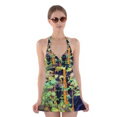 Abstract Trees Flowers Landscape Halter Swimsuit Dress