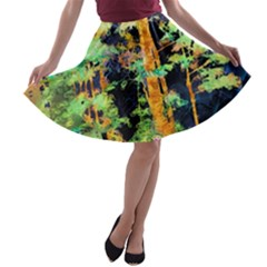 Abstract Trees Flowers Landscape A-line Skater Skirt