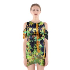 Abstract Trees Flowers Landscape Shoulder Cutout One Piece