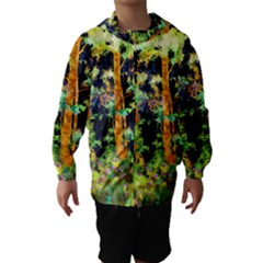 Abstract Trees Flowers Landscape Hooded Wind Breaker (kids)