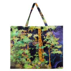 Abstract Trees Flowers Landscape Zipper Large Tote Bag