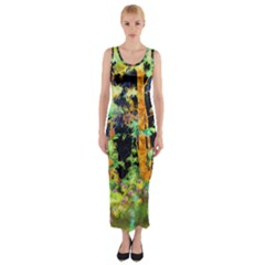 Abstract Trees Flowers Landscape Fitted Maxi Dress
