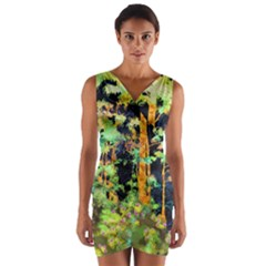 Abstract Trees Flowers Landscape Wrap Front Bodycon Dress