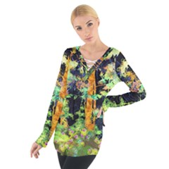 Abstract Trees Flowers Landscape Women s Tie Up Tee