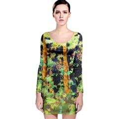 Abstract Trees Flowers Landscape Long Sleeve Velvet Bodycon Dress