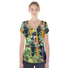Abstract Trees Flowers Landscape Short Sleeve Front Detail Top