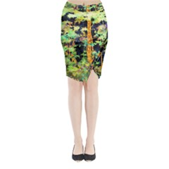 Abstract Trees Flowers Landscape Midi Wrap Pencil Skirt