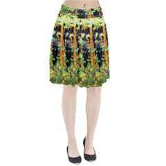 Abstract Trees Flowers Landscape Pleated Skirt