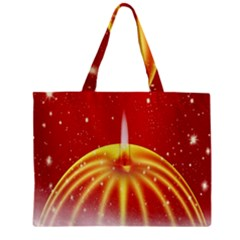 Advent Candle Star Christmas Zipper Mini Tote Bag