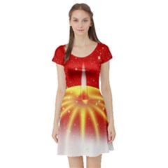 Advent Candle Star Christmas Short Sleeve Skater Dress