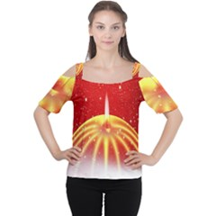 Advent Candle Star Christmas Women s Cutout Shoulder Tee