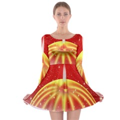 Advent Candle Star Christmas Long Sleeve Skater Dress