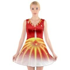 Advent Candle Star Christmas V Neck Sleeveless Skater Dress