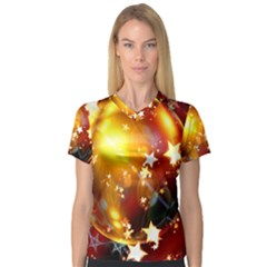 Advent Star Christmas Women s V-Neck Sport Mesh Tee