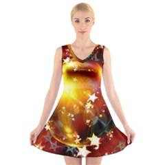 Advent Star Christmas V Neck Sleeveless Skater Dress