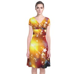Advent Star Christmas Short Sleeve Front Wrap Dress