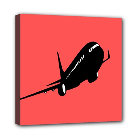 Air Plane Boeing Red Black Fly Mini Canvas 8  X 8