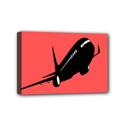 Air Plane Boeing Red Black Fly Mini Canvas 6  X 4