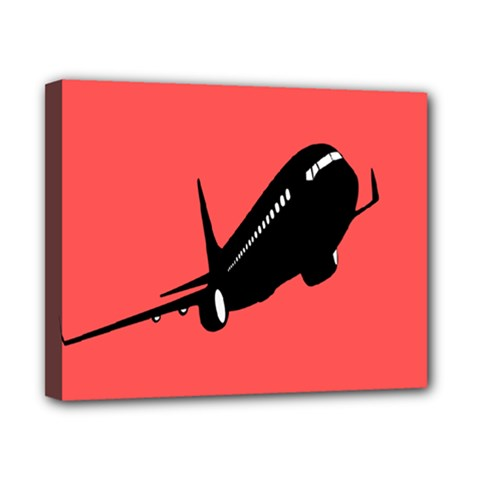 Air Plane Boeing Red Black Fly Canvas 10  X 8