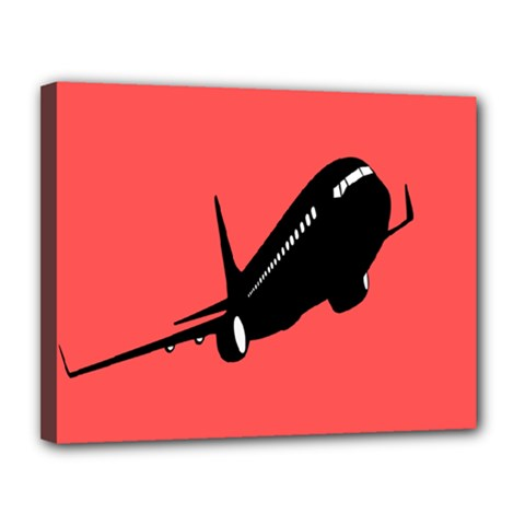 Air Plane Boeing Red Black Fly Canvas 14  X 11