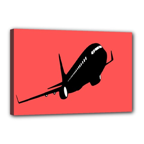 Air Plane Boeing Red Black Fly Canvas 18  X 12