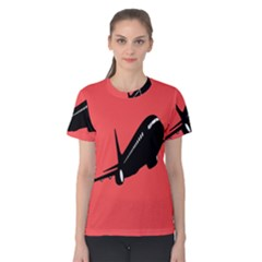 Air Plane Boeing Red Black Fly Women s Cotton Tee