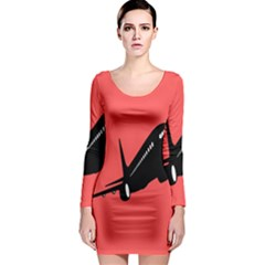 Air Plane Boeing Red Black Fly Long Sleeve Bodycon Dress