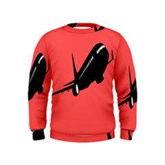 Air Plane Boeing Red Black Fly Kids  Sweatshirt