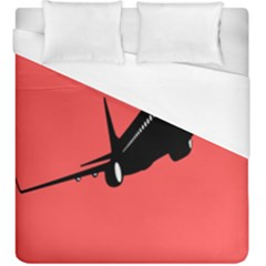 Air Plane Boeing Red Black Fly Duvet Cover (king Size)