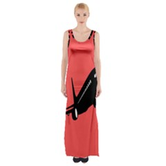 Air Plane Boeing Red Black Fly Maxi Thigh Split Dress