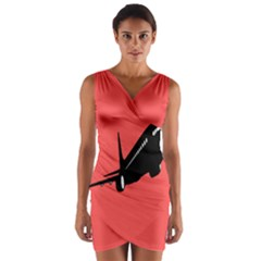 Air Plane Boeing Red Black Fly Wrap Front Bodycon Dress