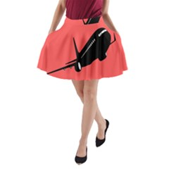 Air Plane Boeing Red Black Fly A Line Pocket Skirt