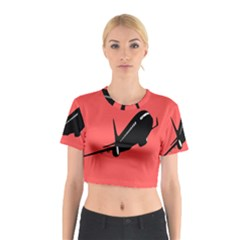 Air Plane Boeing Red Black Fly Cotton Crop Top