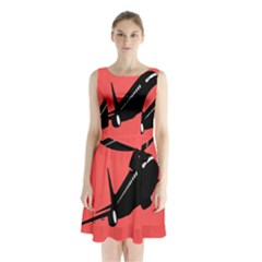 Air Plane Boeing Red Black Fly Sleeveless Chiffon Waist Tie Dress