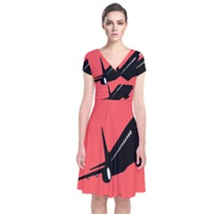 Air Plane Boeing Red Black Fly Short Sleeve Front Wrap Dress