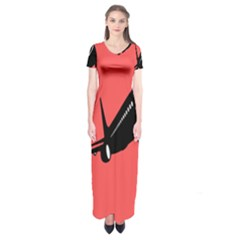 Air Plane Boeing Red Black Fly Short Sleeve Maxi Dress