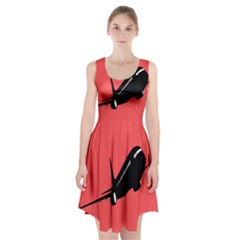 Air Plane Boeing Red Black Fly Racerback Midi Dress