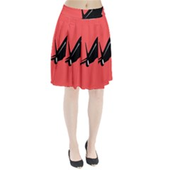 Air Plane Boeing Red Black Fly Pleated Skirt