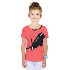 Air Plane Boeing Red Black Fly Kids  One Piece Tee