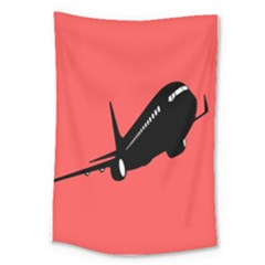 Air Plane Boeing Red Black Fly Large Tapestry